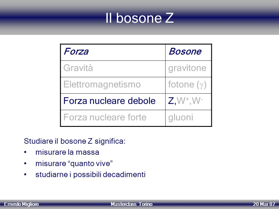 Il bosone Z Forza Bosone Gravità gravitone Elettromagnetismo