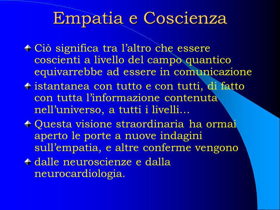 Empatia e Coscienza Ciò significa tra l'altro che essere coscienti a livello del campo quantico equivarrebbe ad essere in comunicazione.