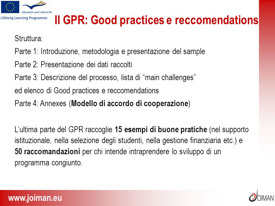Il GPR: Good practices e reccomendations