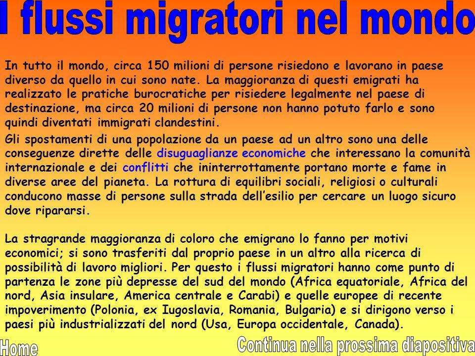 I flussi migratori nel mondo