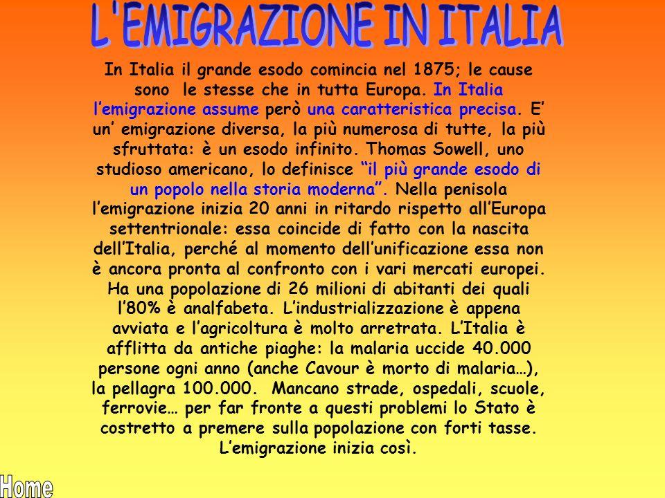 L EMIGRAZIONE IN ITALIA