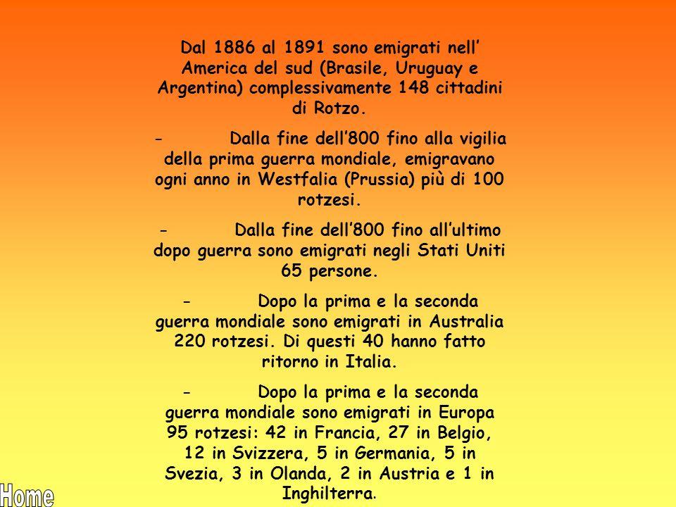 Dal 1886 al 1891 sono emigrati nell' America del sud (Brasile, Uruguay e Argentina) complessivamente 148 cittadini di Rotzo.