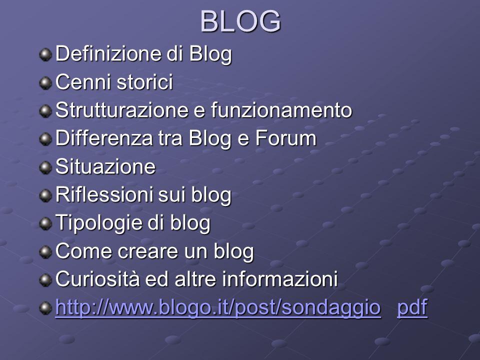 BLOG Definizione di Blog Cenni storici Strutturazione e funzionamento