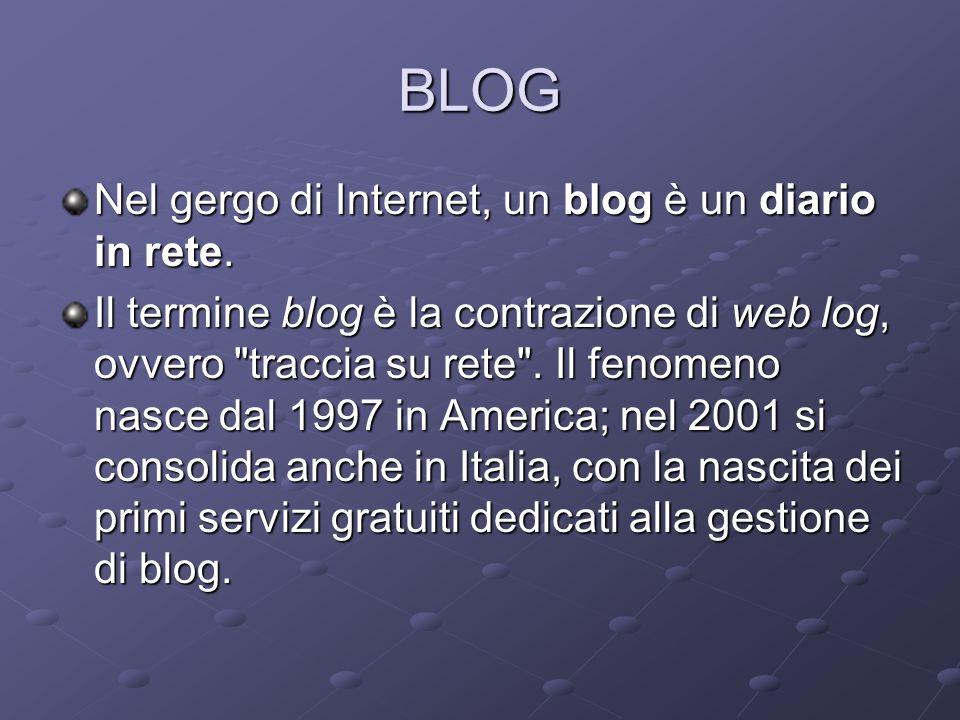 BLOG Nel gergo di Internet, un blog è un diario in rete.