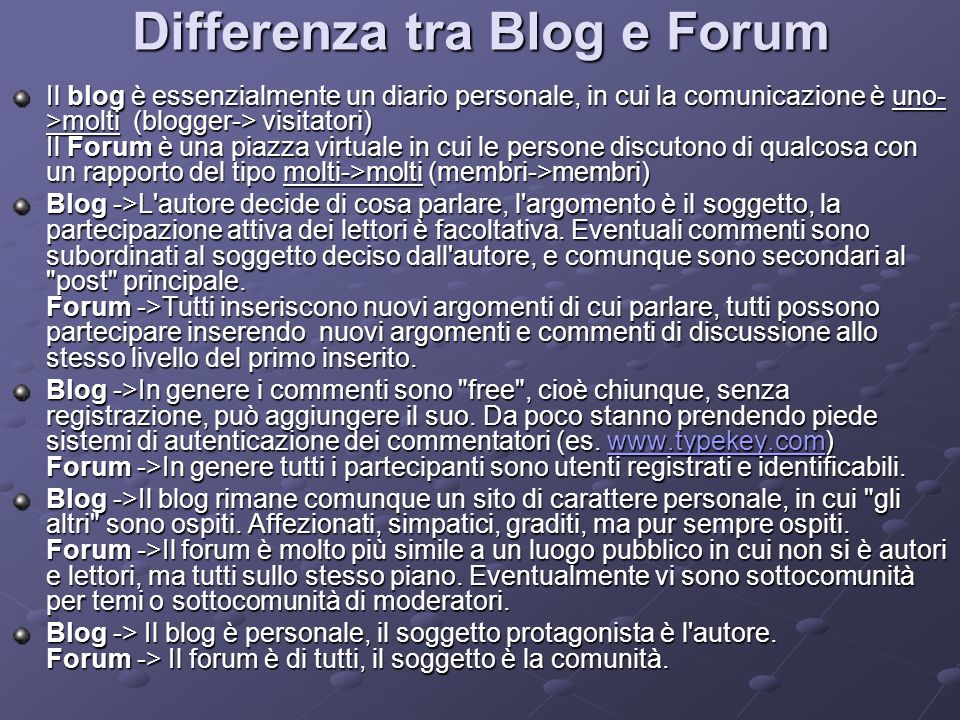 Differenza tra Blog e Forum