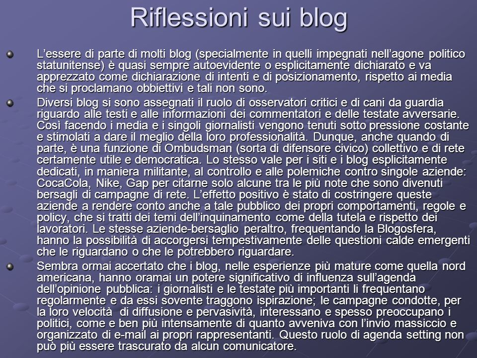 Riflessioni sui blog