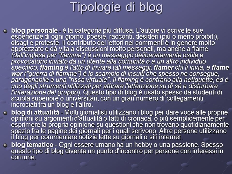 Tipologie di blog