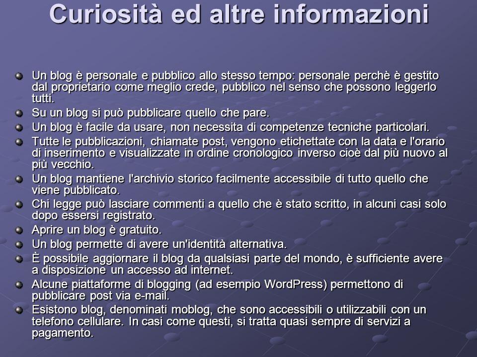 Curiosità ed altre informazioni