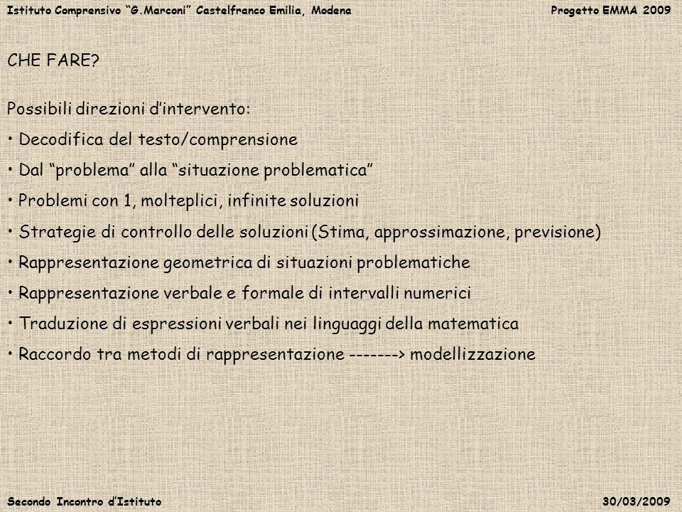 Possibili direzioni d'intervento: Decodifica del testo/comprensione