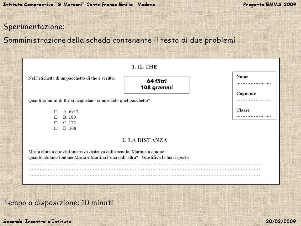 Somministrazione della scheda contenente il testo di due problemi