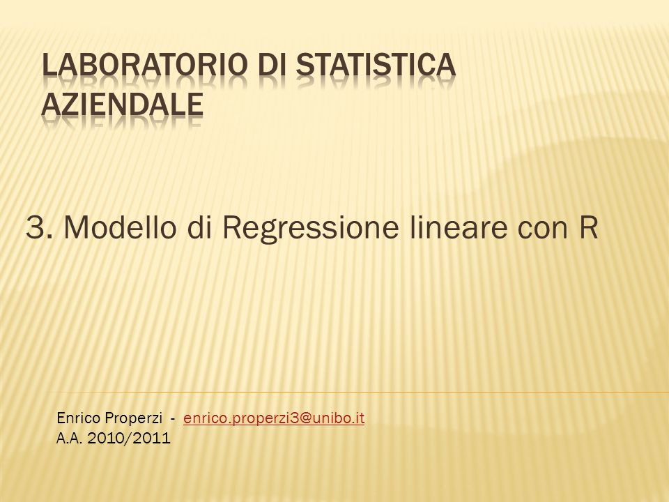 LABORATORIO DI STATISTICA AZIENDALE