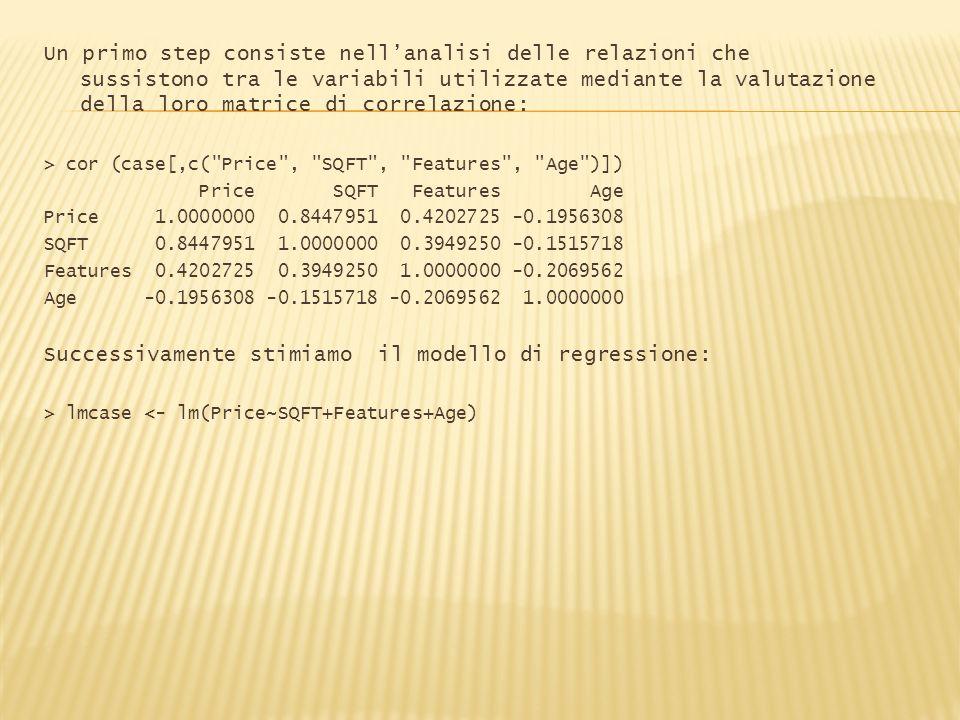Successivamente stimiamo il modello di regressione:
