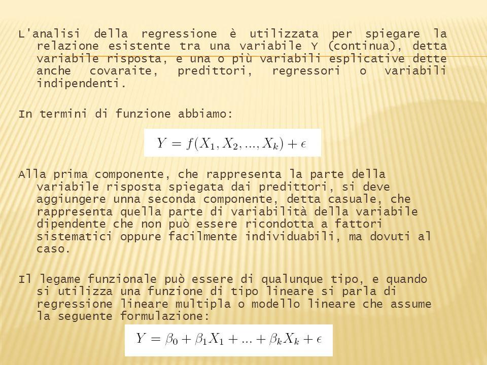 L analisi della regressione è utilizzata per spiegare la relazione esistente tra una variabile Y (continua), detta variabile risposta, e una o più variabili esplicative dette anche covaraite, predittori, regressori o variabili indipendenti.