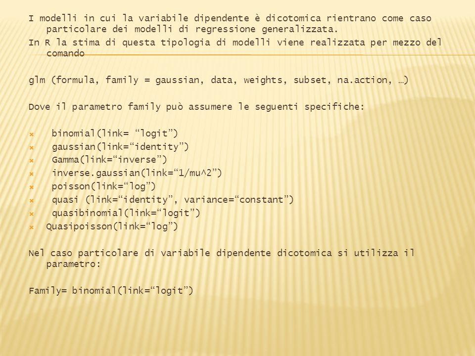I modelli in cui la variabile dipendente è dicotomica rientrano come caso particolare dei modelli di regressione generalizzata.