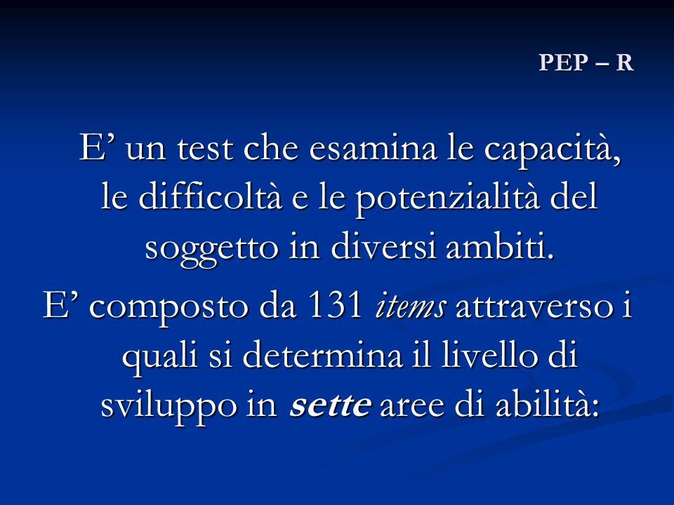 PEP – R E' un test che esamina le capacità, le difficoltà e le potenzialità del soggetto in diversi ambiti.