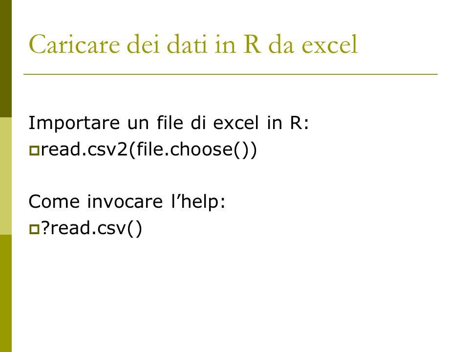 Caricare dei dati in R da excel