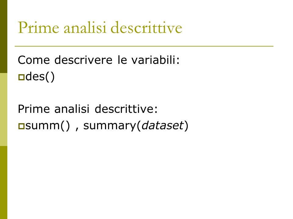 Prime analisi descrittive