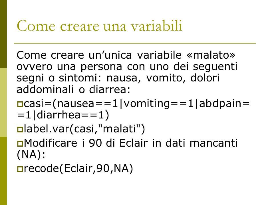 Come creare una variabili
