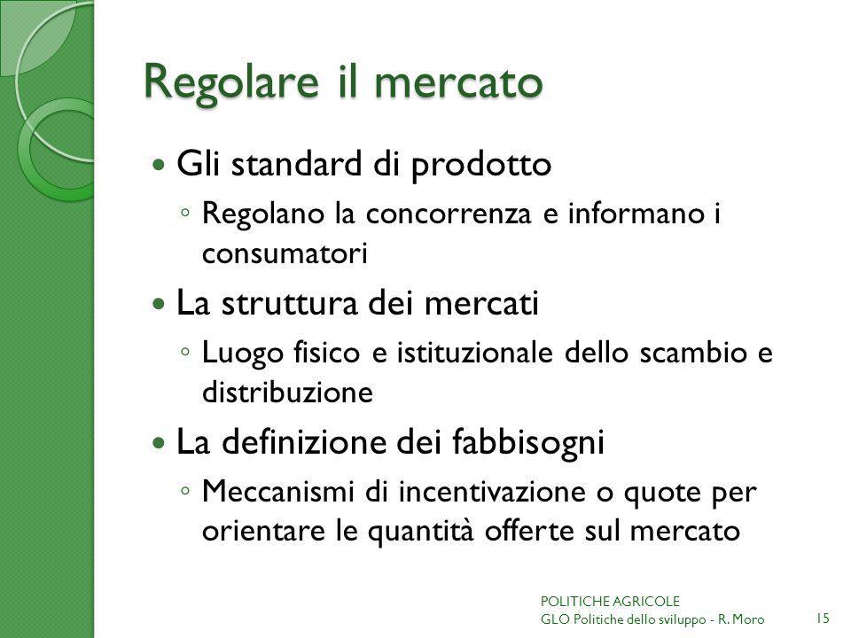 Regolare il mercato Gli standard di prodotto La struttura dei mercati