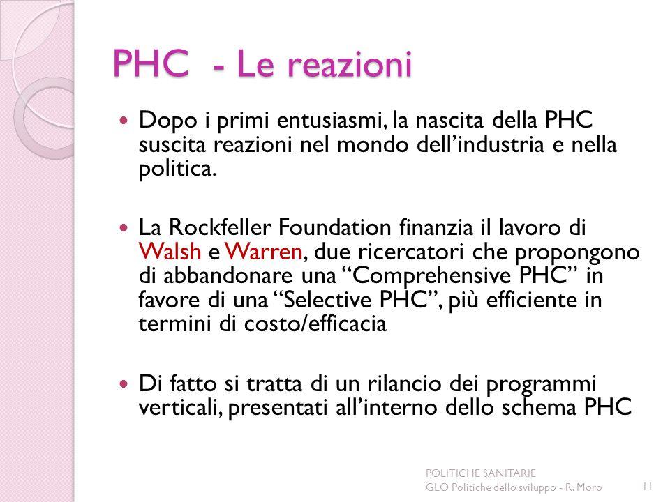 PHC - Le reazioni Dopo i primi entusiasmi, la nascita della PHC suscita reazioni nel mondo dell'industria e nella politica.