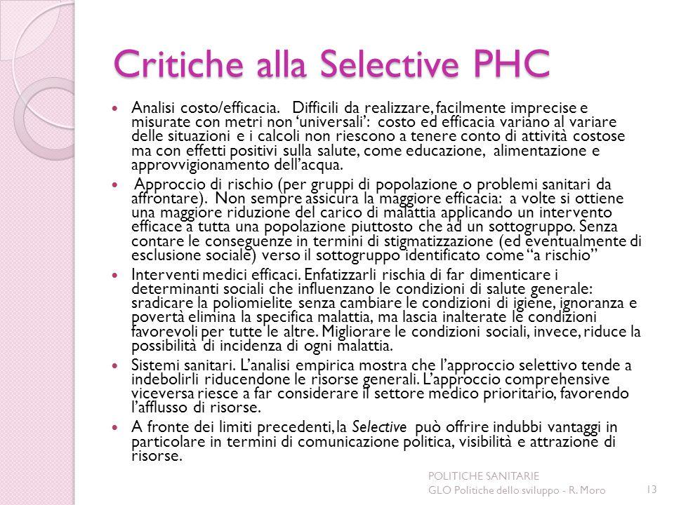 Critiche alla Selective PHC