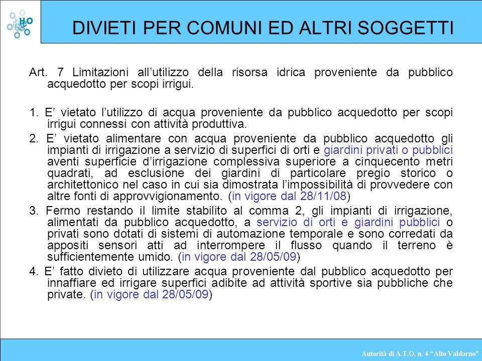 DIVIETI PER COMUNI ED ALTRI SOGGETTI