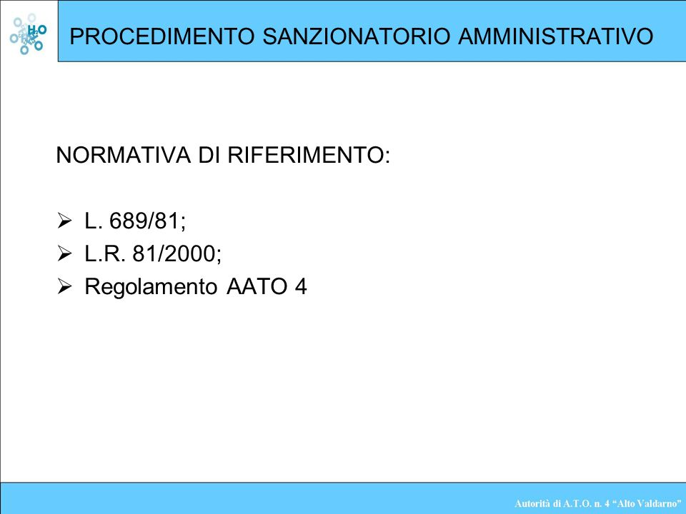PROCEDIMENTO SANZIONATORIO AMMINISTRATIVO