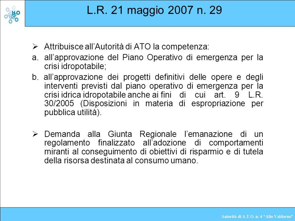 L.R. 21 maggio 2007 n. 29 Attribuisce all'Autorità di ATO la competenza: