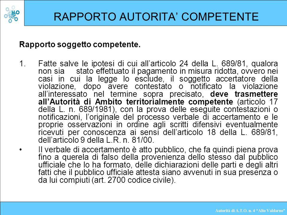 RAPPORTO AUTORITA' COMPETENTE