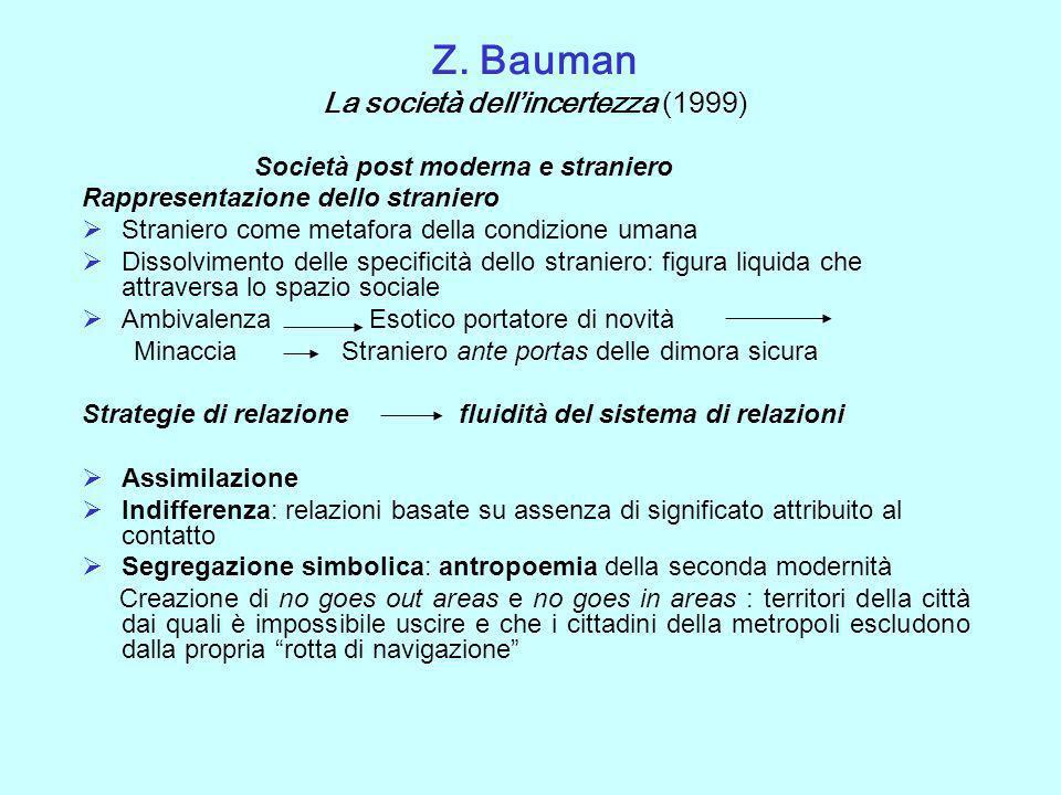 Z. Bauman La società dell'incertezza (1999)
