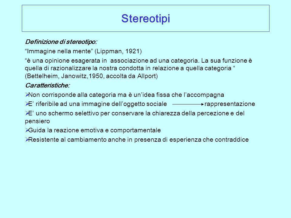 Stereotipi Definizione di stereotipo:
