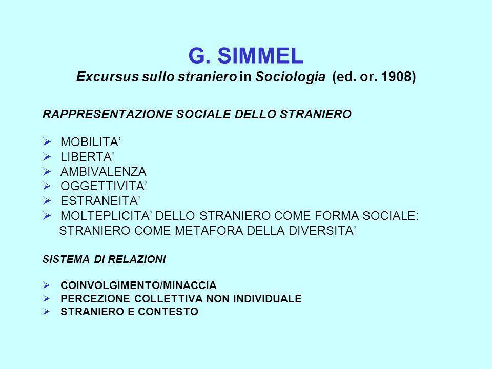 G. SIMMEL Excursus sullo straniero in Sociologia (ed. or. 1908)