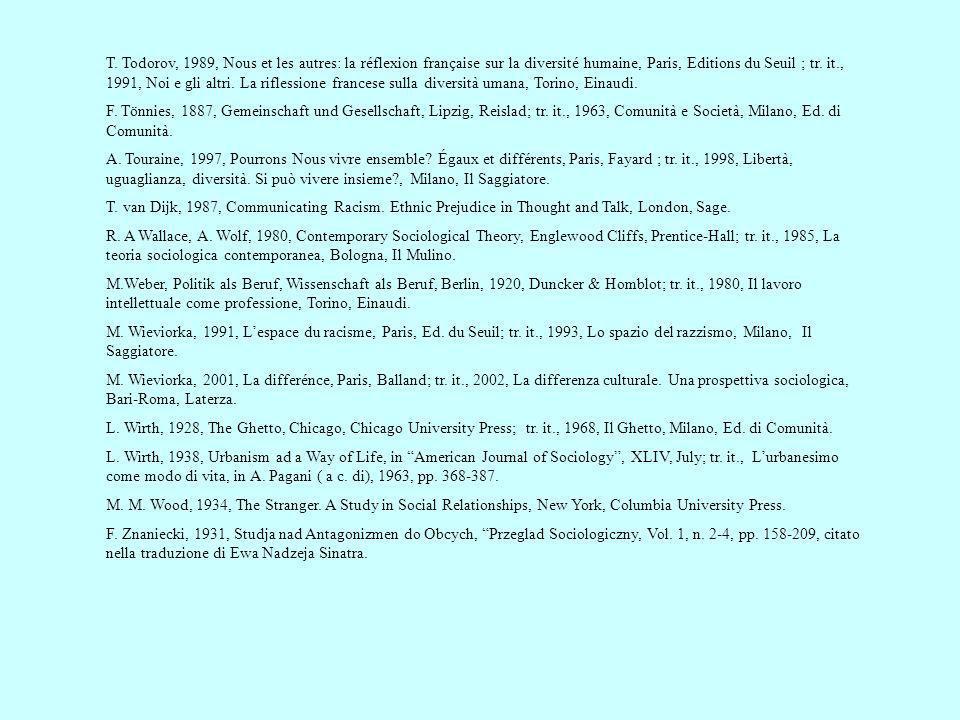 T. Todorov, 1989, Nous et les autres: la réflexion française sur la diversité humaine, Paris, Editions du Seuil ; tr. it., 1991, Noi e gli altri. La riflessione francese sulla diversità umana, Torino, Einaudi.