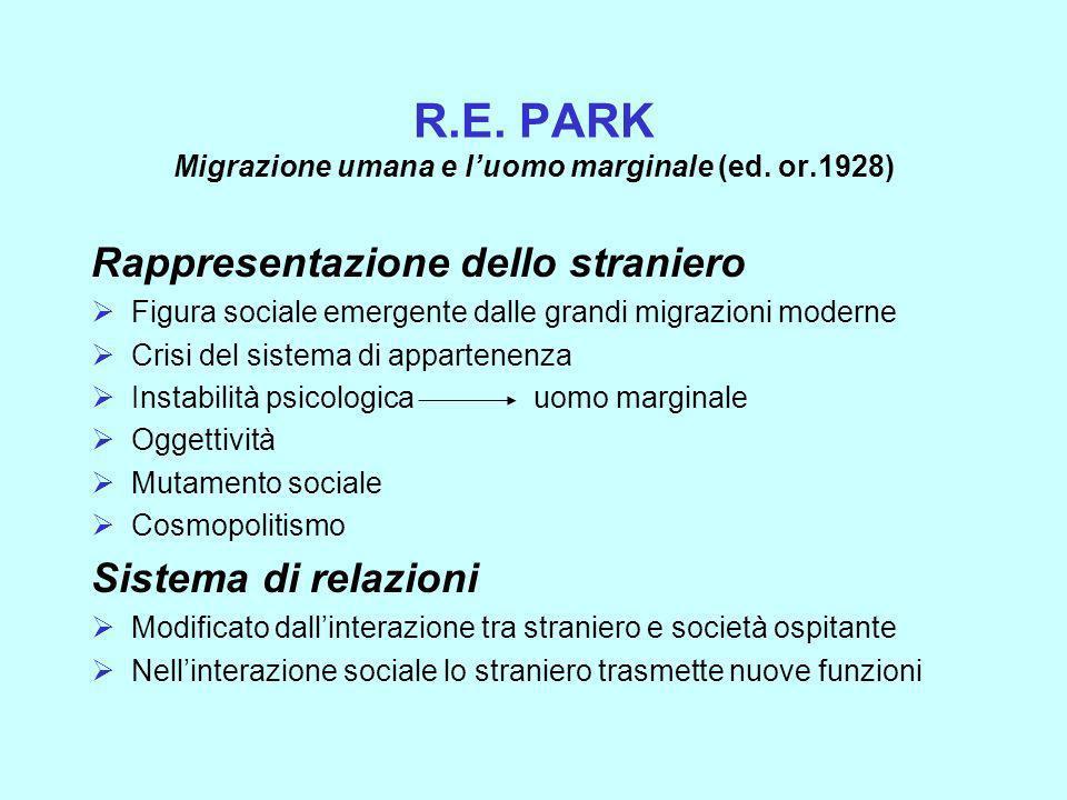 R.E. PARK Migrazione umana e l'uomo marginale (ed. or.1928)