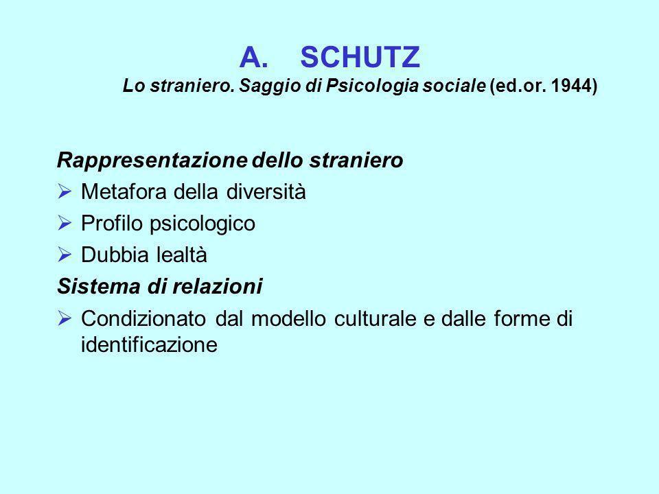 SCHUTZ Lo straniero. Saggio di Psicologia sociale (ed.or. 1944)