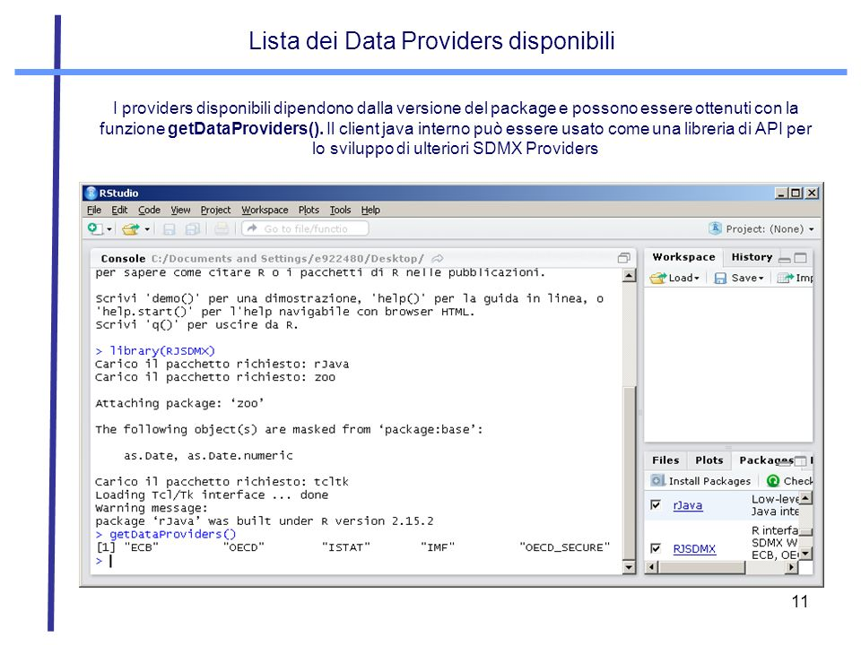 Lista dei Data Providers disponibili