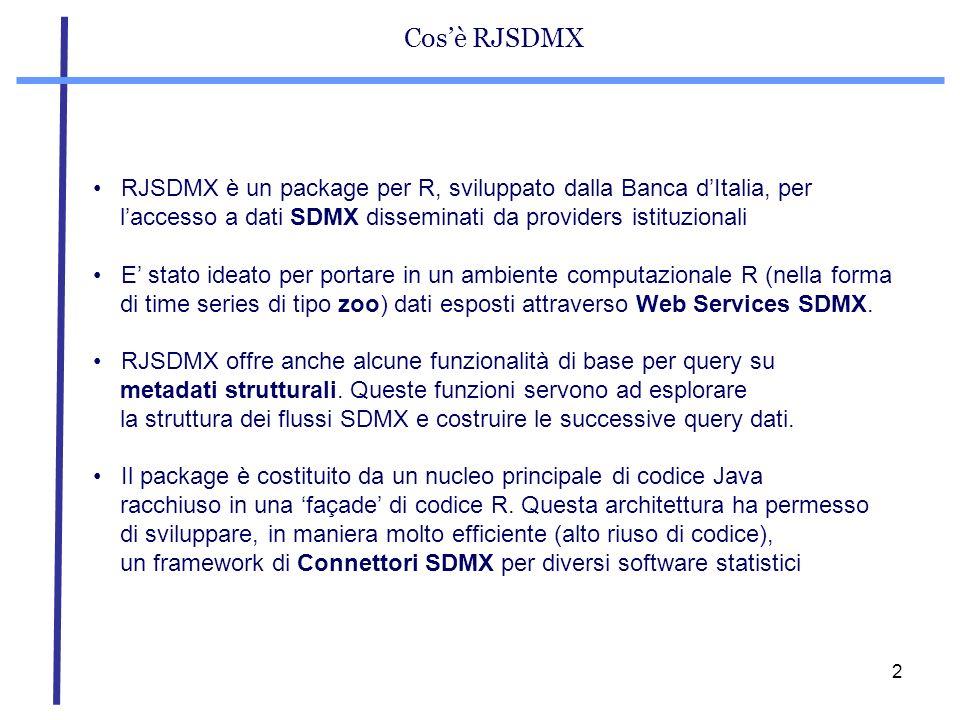 Cos'è RJSDMXRJSDMX è un package per R, sviluppato dalla Banca d'Italia, per. l'accesso a dati SDMX disseminati da providers istituzionali.