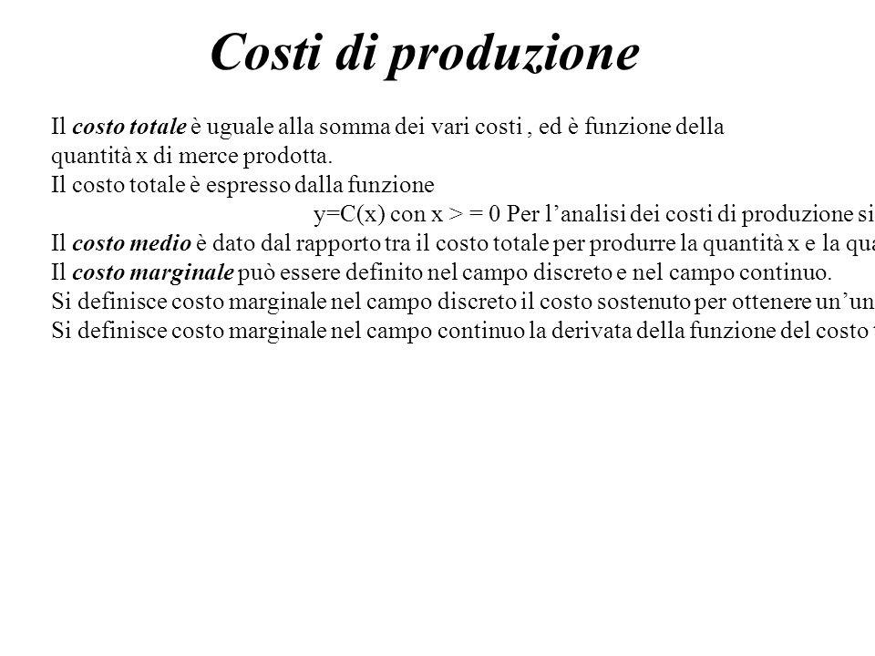 Costi di produzioneIl costo totale è uguale alla somma dei vari costi , ed è funzione della. quantità x di merce prodotta.