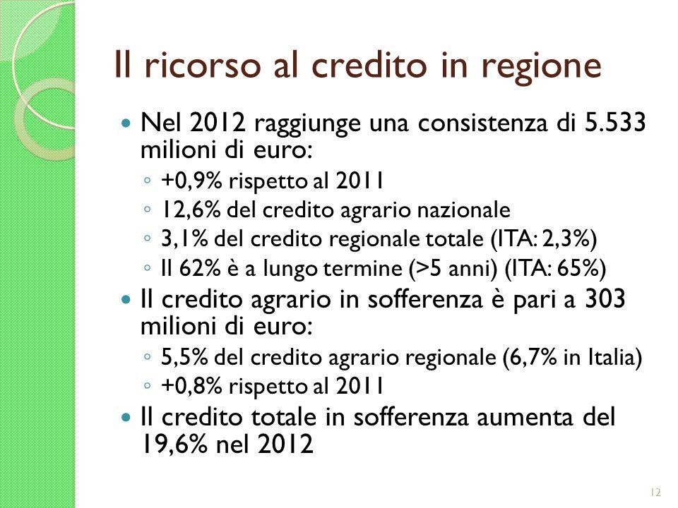 Il ricorso al credito in regione