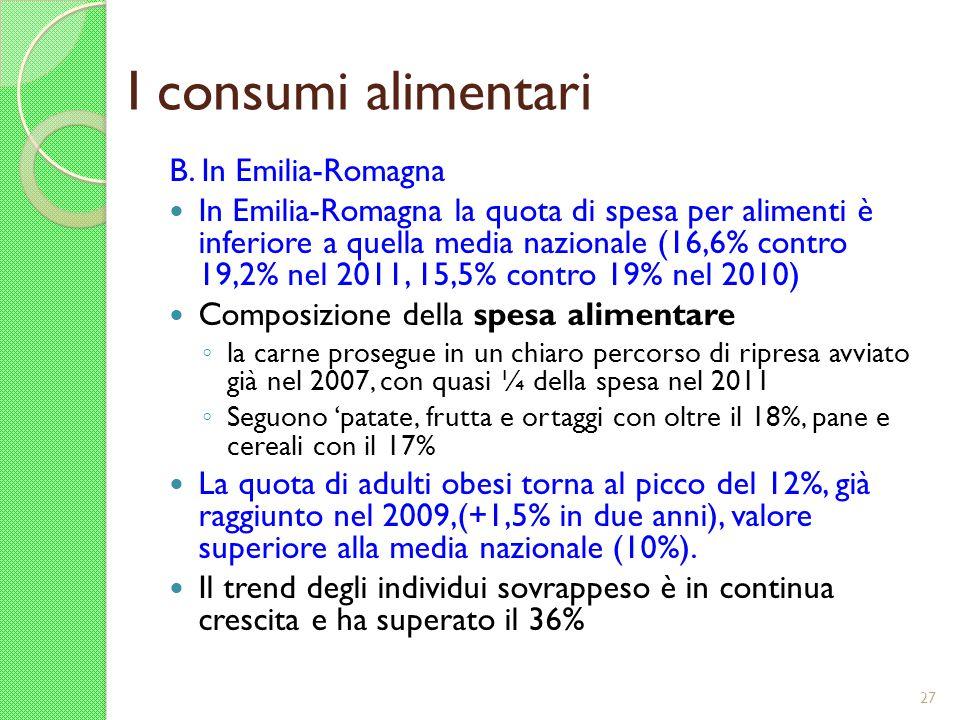 I consumi alimentari B. In Emilia-Romagna