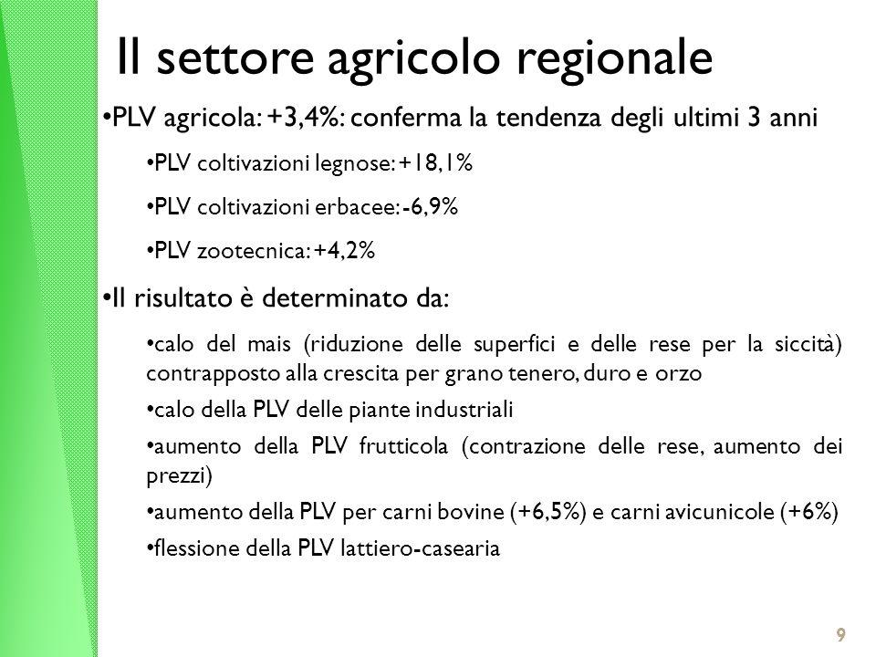 Il settore agricolo regionale