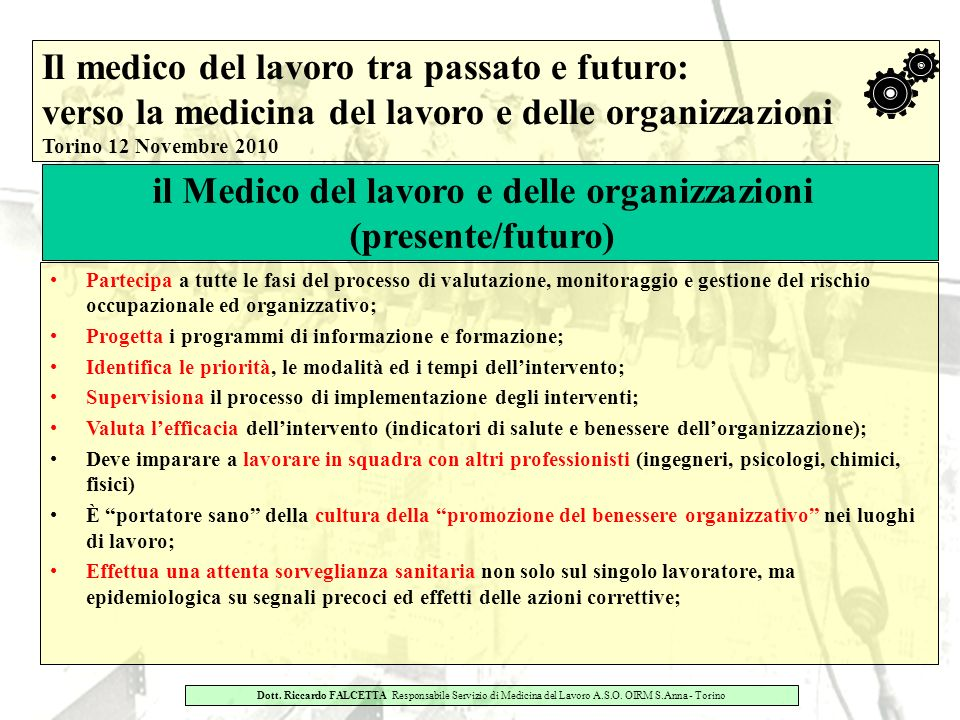 il Medico del lavoro e delle organizzazioni
