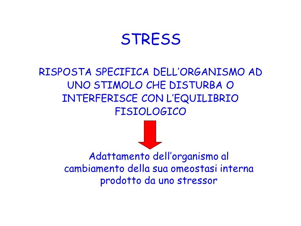 STRESS RISPOSTA SPECIFICA DELL'ORGANISMO AD UNO STIMOLO CHE DISTURBA O