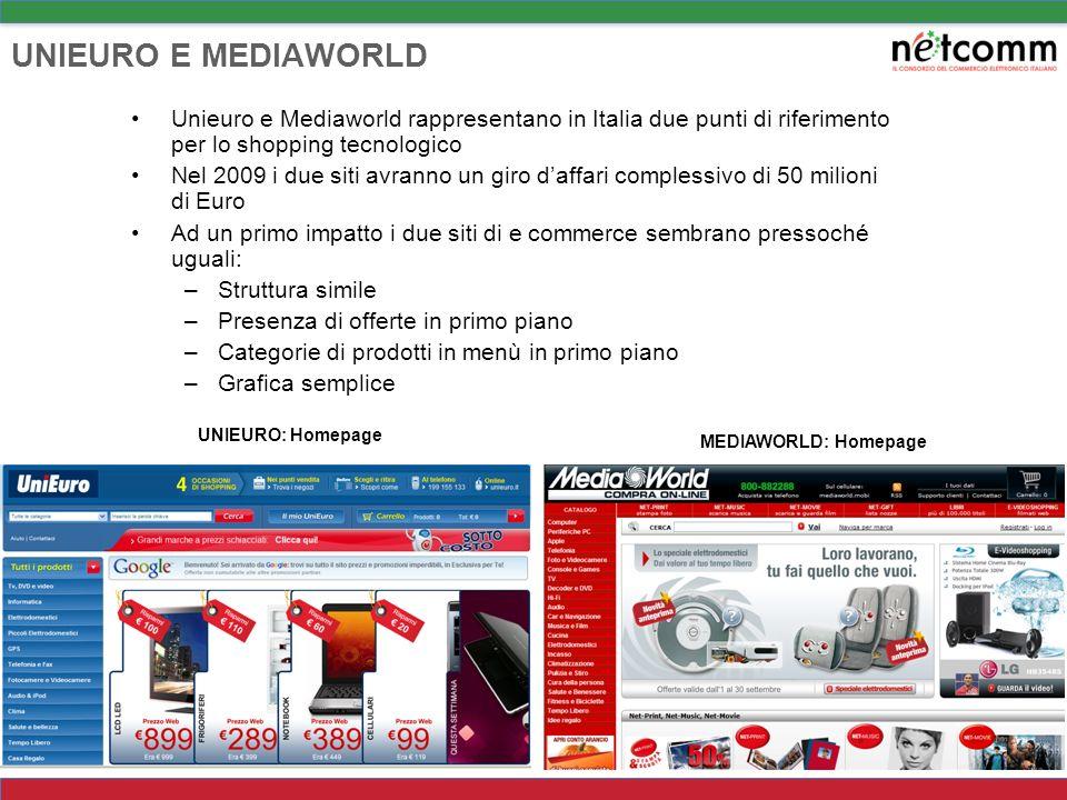 UNIEURO E MEDIAWORLD Unieuro e Mediaworld rappresentano in Italia due punti di riferimento per lo shopping tecnologico.