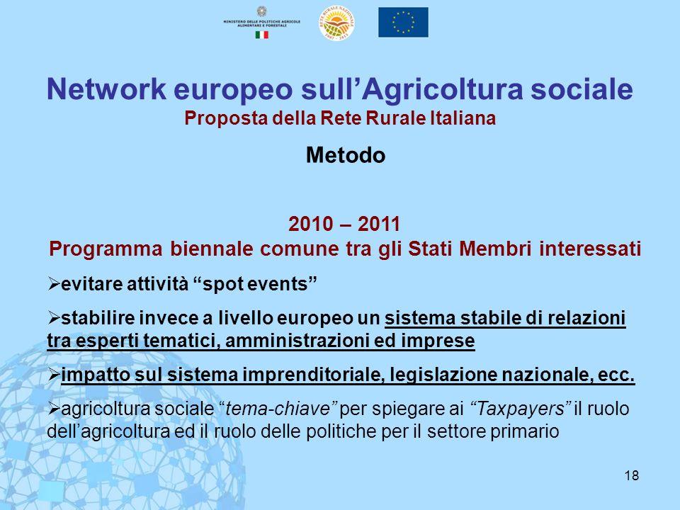 2010 – 2011 Programma biennale comune tra gli Stati Membri interessati