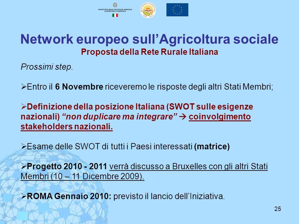 Network europeo sull'Agricoltura sociale Proposta della Rete Rurale Italiana