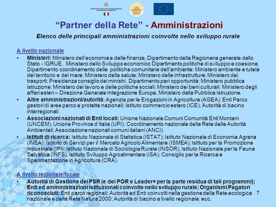 Partner della Rete - Amministrazioni