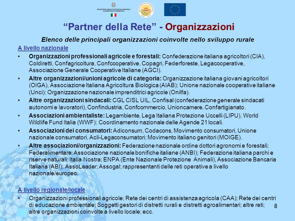 Partner della Rete - Organizzazioni