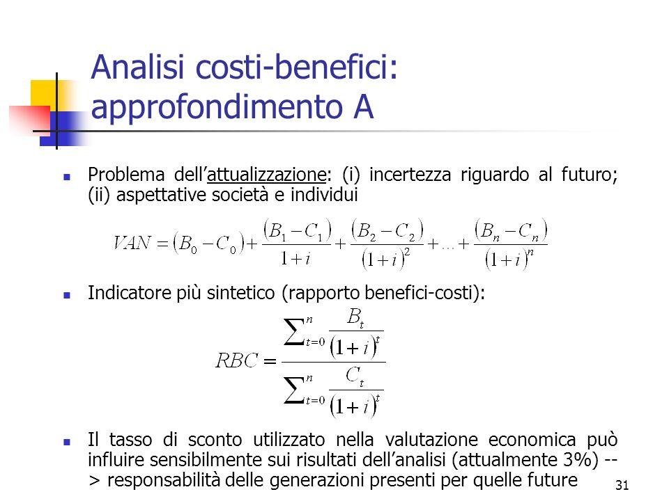 Analisi costi-benefici: approfondimento A