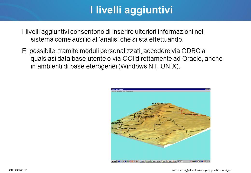 I livelli aggiuntivi I livelli aggiuntivi consentono di inserire ulteriori informazioni nel sistema come ausilio all'analisi che si sta effettuando.